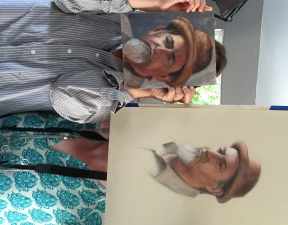 Paul Nelson as rendered by portrait artists Amanda and Karen, August 2015