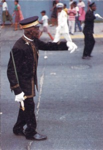 William Claxton - the lead marcher of the George Williams Brass Band in a parade, New Orleans, 1960.