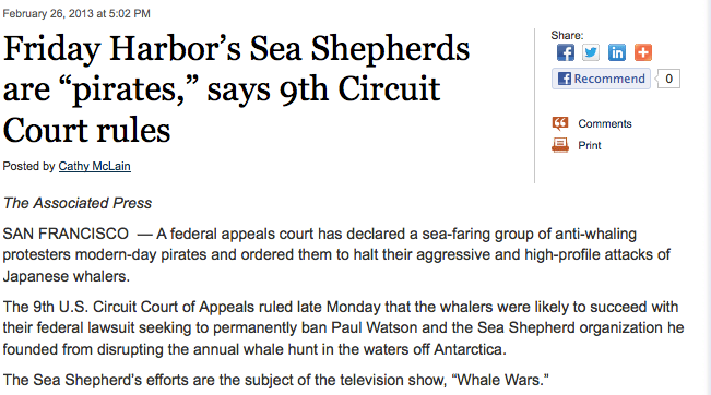 Click on the image to get to the story at http://blogs.seattletimes.com/today/2013/02/friday-harbors-sea-shepherds-are-pirates-says-9th-circuit-court-rules/