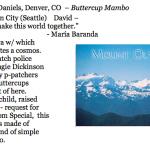 432. to David Daniels, Denver, CO – Buttercup Mambo