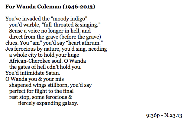 For Wanda Coleman