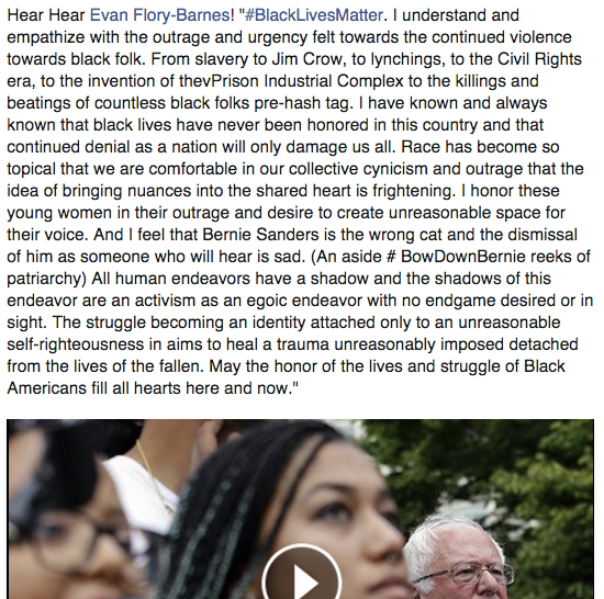 Evan FB on #BLM 8.8.15