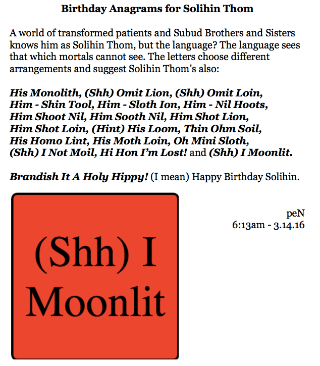 Birthday Anagrams for Solihin Thom