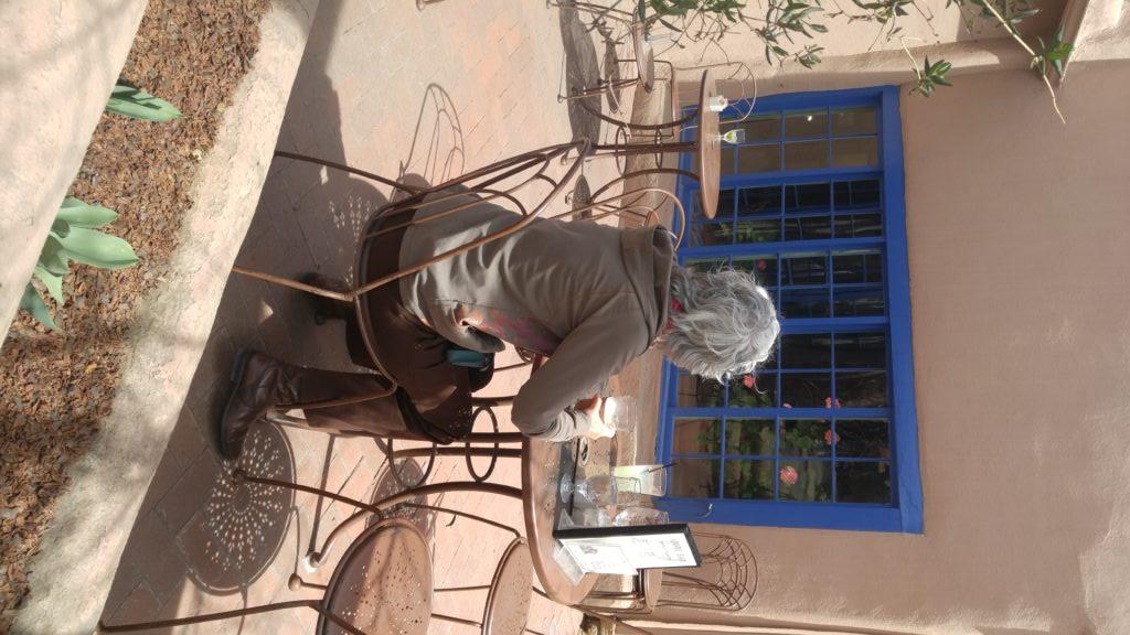 The Rabbit Queen awaits her Blue Corn Hotcakes at the Taos Inn.